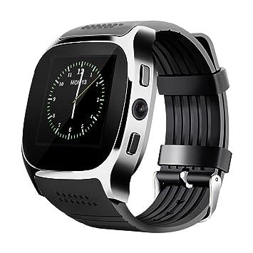 LUCKY ® Nuevo T8 Bluetooth Smart Watches Apoyo SIM & TF Tarjeta Con Cámara Sync Llamar Mensaje Hombres Mujeres Smartwatch Ver Para Android (black)