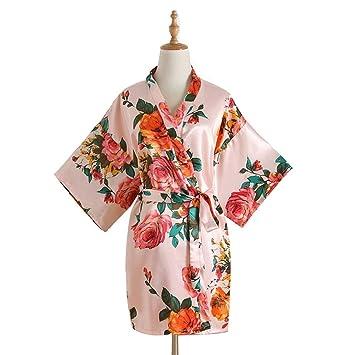 HUIFANG Pijamas De Satén para Mujer, Pintadas A Mano, Pijamas De Verano, Bata
