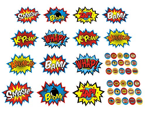 ADJOY Large Superhero Party Stickers - Superhero Sign Cutout Stickers - Superhero Party Supplies -