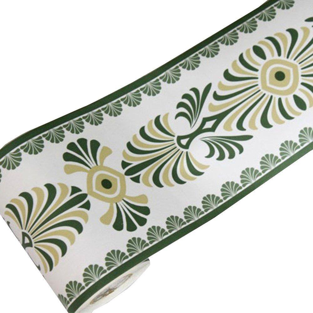 LoveFaye Green Leaf Wallpaper Border Self-Adhesive Vinyl Wall Covering Borders Bathroom Bedroom Tiles Decor Sticker 000682