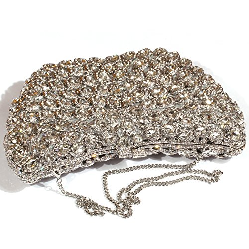 Silver Evening Digabi Purses women Crystal Rhinestone Big Clutch Wings Bags wYqq7OzxU