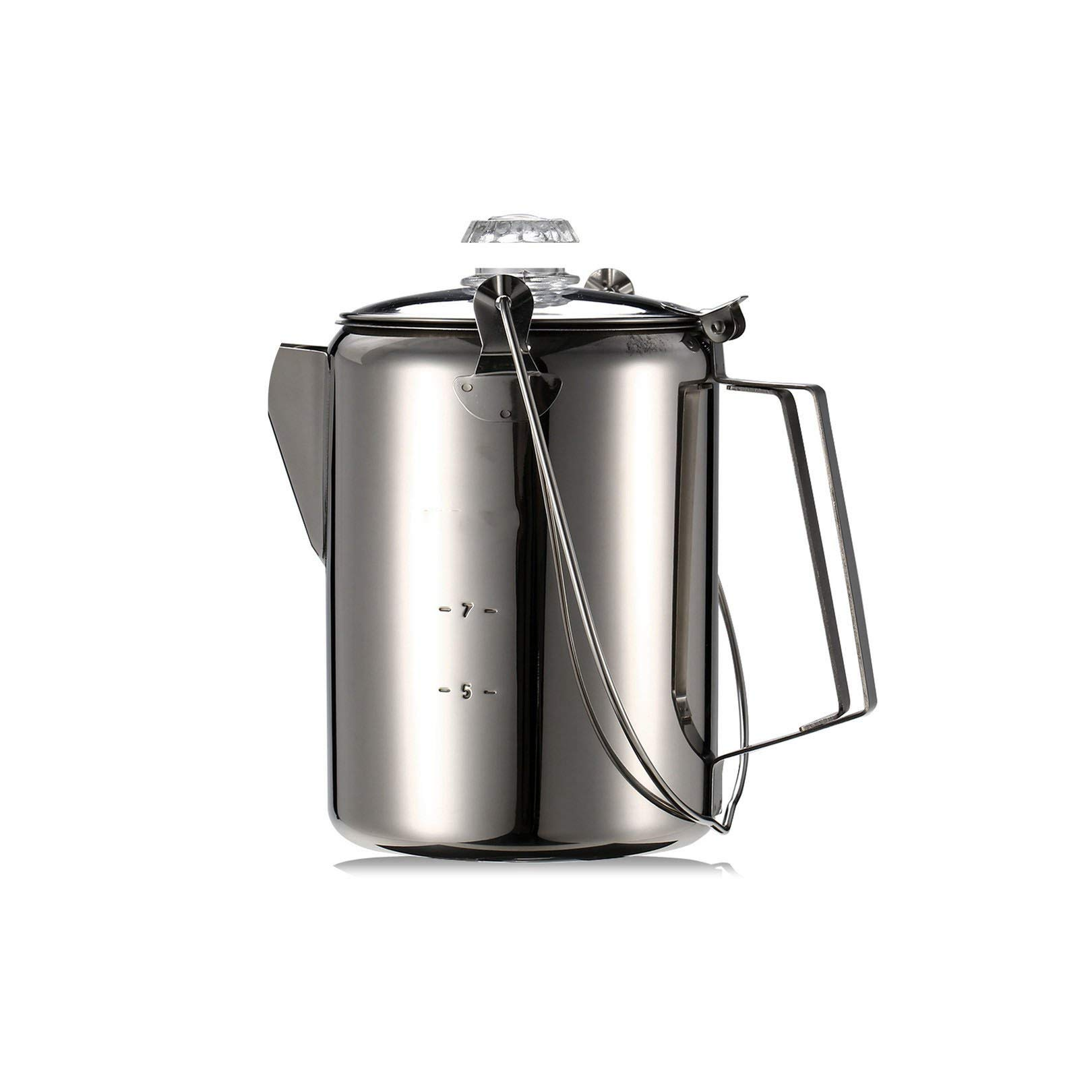 Coffee-Percolators Outdoor Camping Pot 9 Cup Stainless Steel Percolator Coffee Maker For Camping Home Kitchen Camping,As Picture 1