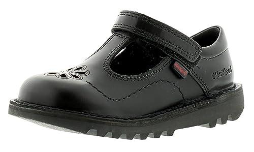 262c52b3f9f NUEVO Menor niña   Infantil Negro Kickers ondeante CIERRE ADHESIVO Zapatos  negros - GB Tallas 7-12 - negro