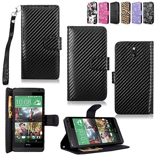 HTC Desire 610 Case - Cellularvilla Pu Leather Wallet Card Flip Open Pocket Case Cover Pouch for HTC Desire 610 (Carbon Fiber Black)