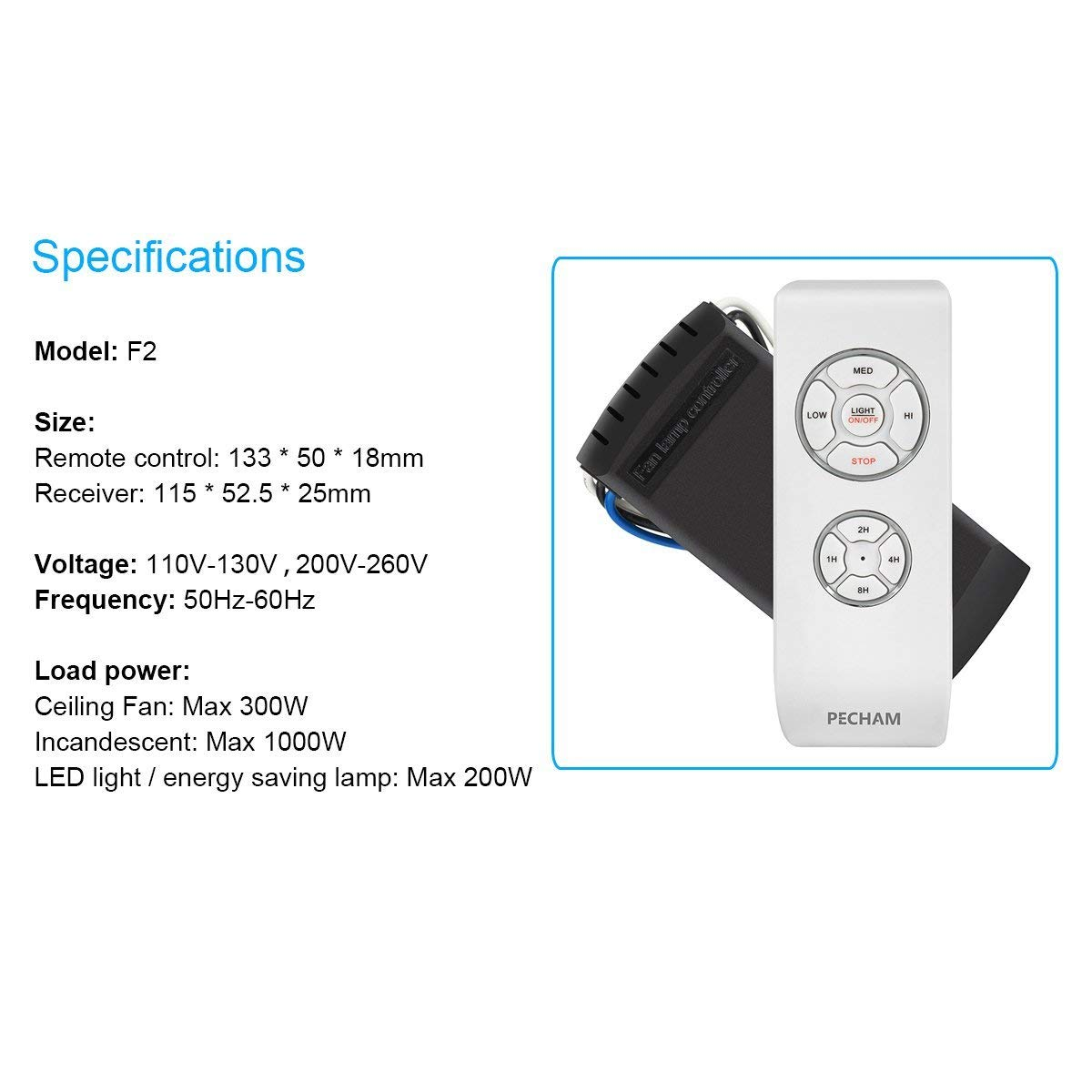 PECHAM Universal Lamp Kit & Timing Wireless Remote Control for Ceiling Fan, Scope of Application [Home/Office/Hotel/The Club/Display Hall/Restaurant] by PECHAM (Image #7)
