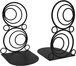 Agirlgle Bookends Decorative Book Ends Metal Black Heavy Duty Bookend Modern Geometric Design Book end Bookshelf Decor for Bedroom Library Office School Book Display Desktop Organizer Adults Kids