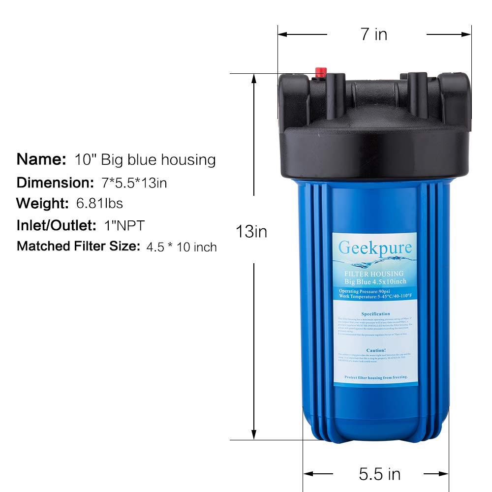 1 Female NPT Inlet//Outlet Pentek 150237 #10 Big Blue Filter Housing