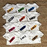 Handmade Baby Monthly Crayon Onesie Set : set of 12 Bodysuit - Baby shower gift