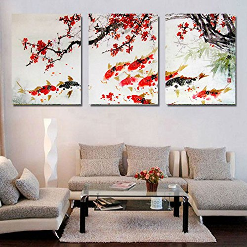 HD Print Cherry Blossom Koi Fish Painting Canvas wall art Prictue home decor print poster picture canvas (Fish Oil Paintings)