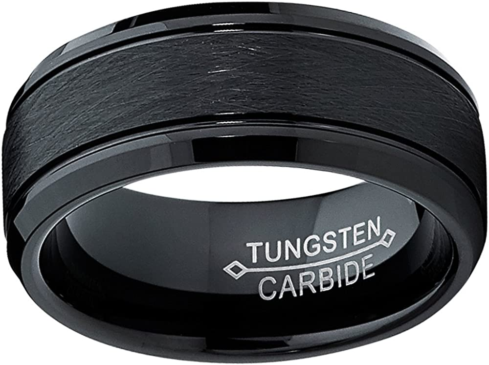 Ultimate Metals Co Tungsten Carbide Mens Black Brushed Textured Center Ring Band 8 mm Comfort Fit