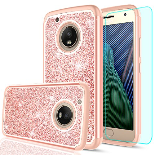 Moto G5 Plus Glitter Case, Moto X 2017 / Moto 5G Plus Case with HD Screen Protector, LeYi Girls Women Hybrid TPU Hard PC Dual Layer Shock Absorption Case for Moto G Plus (5th Generation) TP Rose Gold