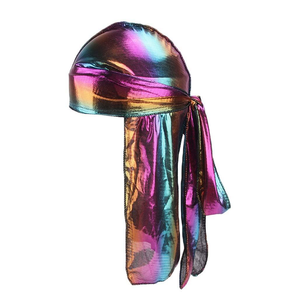 Mwfus Unisex 360 Waves Extra Long Tail Wide Straps Pirate Cap Silky Durag Turban Headwrap Hip Hop Cloak Hat
