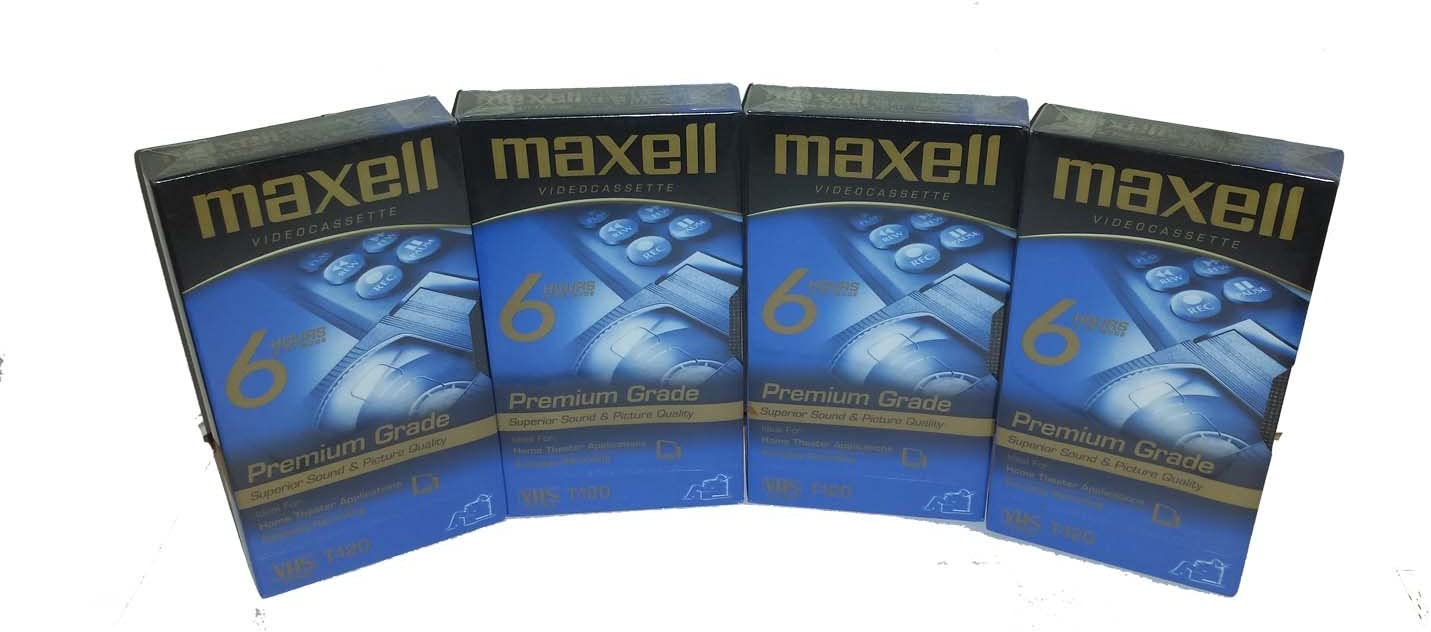 New Maxell Premium High Grade Videocassettes 120 Minutes 4 Pack Recording Time Outstanding Picture