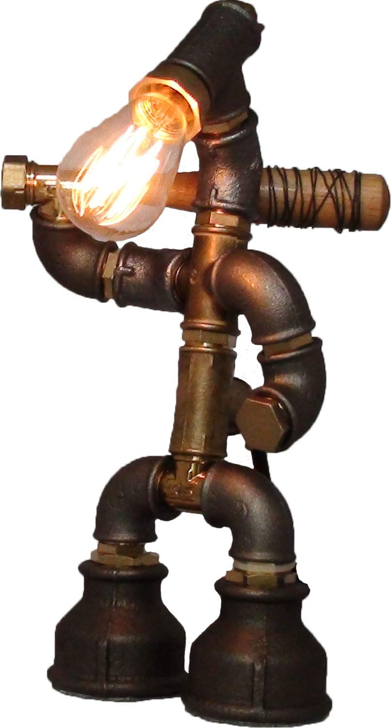 Easy2Сook- Steampunk Industrial Style Pipe Desk Light With Dimmer - Negan- Bat Lucille-Robot Guardian