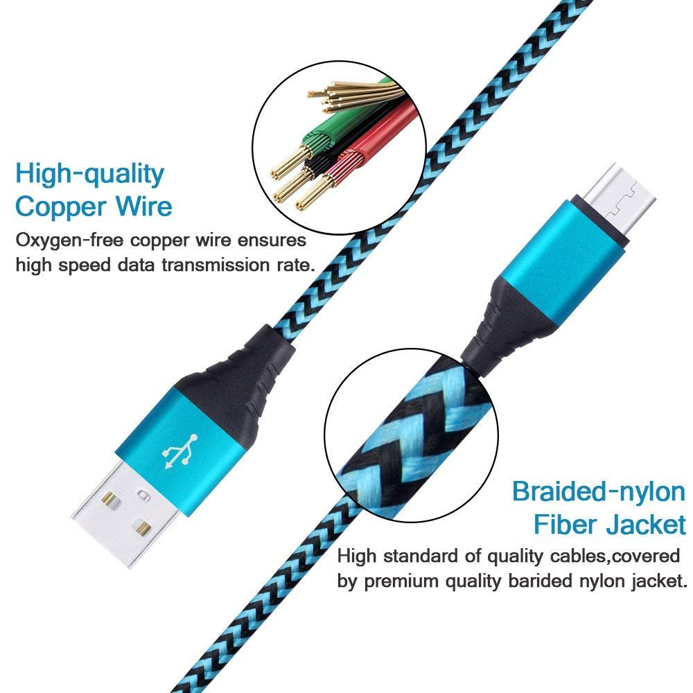 Micro Usb Cable Android Phone Chargerhuhuta 5pack 6ft Also Samsung Galaxy Tab Pinout On 2 0 Wire Diagram 5 Nylon Braided To A High Speed Sync Charging Compatible Androidsamsung S7