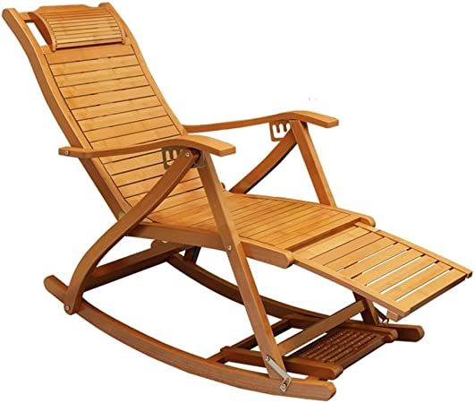 Amazon Com Recliners Solid Wood Lounge Chair Rocking Chairs Chair Bamboo Chair Chair With Balcony For Adults Pause For Lunch Folding Chair Siesta Chair For Sleeping With Backrest Elderly Chair Garden Outdoor