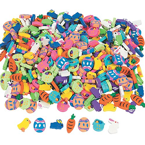 Fun Express - Mini Easter Eraser Asst.- 144 Pieces for Easter - Stationery - Pencil Accessories - Erasers - Easter - 144 Pieces