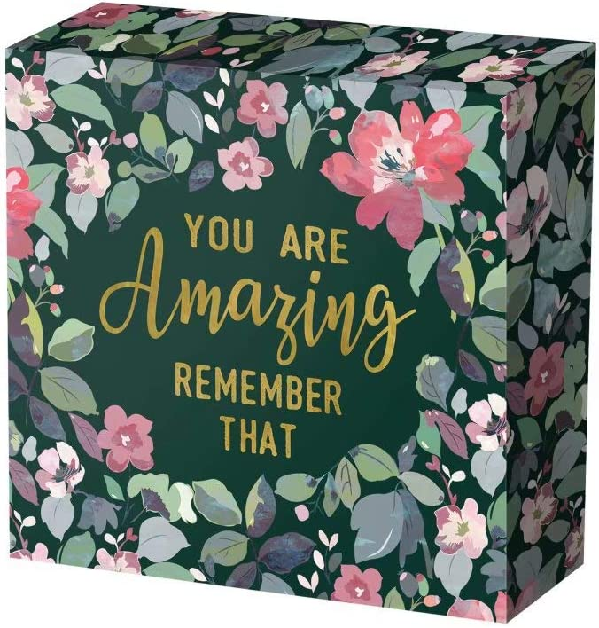 SANY DAYO HOME 8 x 8 inches Colorful Wooden Box Sign with Inspirational Saying for Home and Office Decor - You are Amazing Remember That