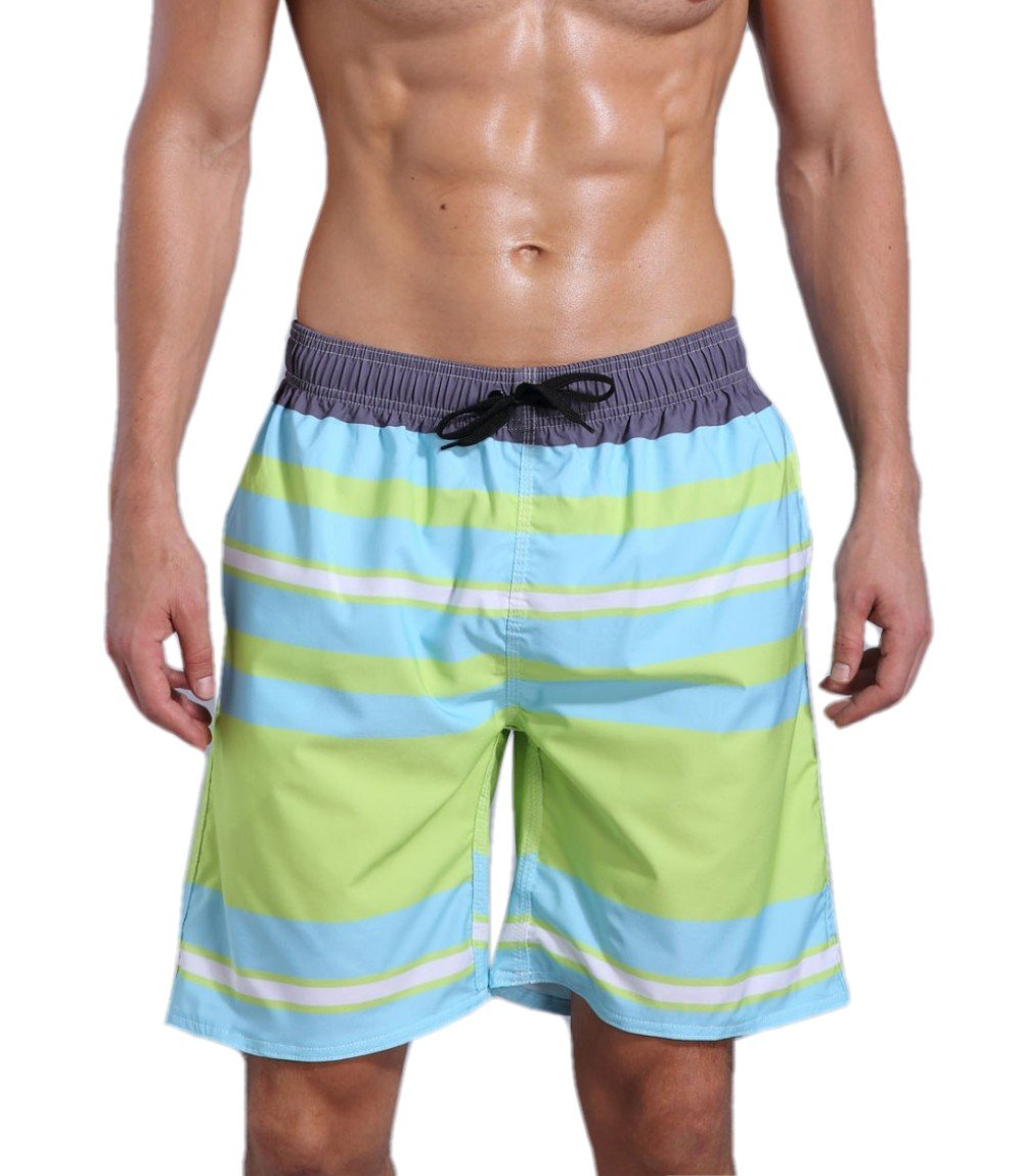 ORANSSI Men's Quick Dry Swim Trunks Bathing Suit Striped Shorts with Pockets