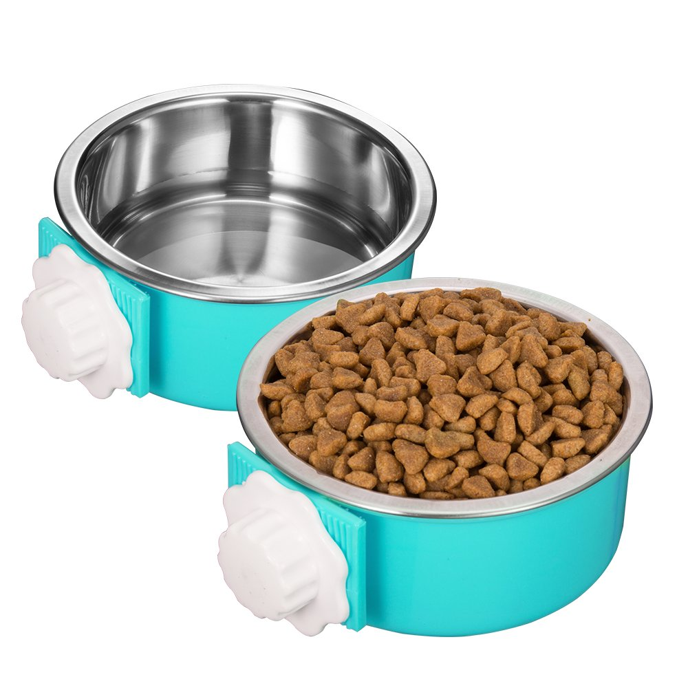 Amazon 5 stars Crate Dog Bowl, Stainless Steel Removable Hanging Food Water Bowl Cage Coop Cup for Dogs, Cats, Small Animals,14 oz by Amazon 5 stars (Image #4)
