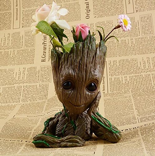 Best Halloween Gift Baby Groot pens Holder Organizer or Succulent Flowers Pot with Drainage Hole The Guardians of Galaxy Tree Man Action Figures 6\