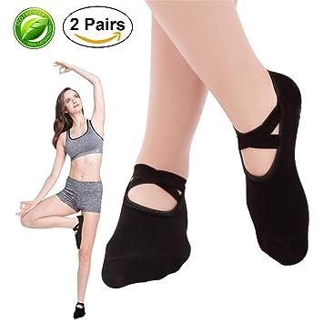 SANIQUE 2 pares Mujer Calcetines de yoga Pilates Calcetines Fitness/Danza/Ballet Calcetín Tamaño UK 2,5-7/EU 35-40 (Negro): Amazon.es: Deportes y aire libre