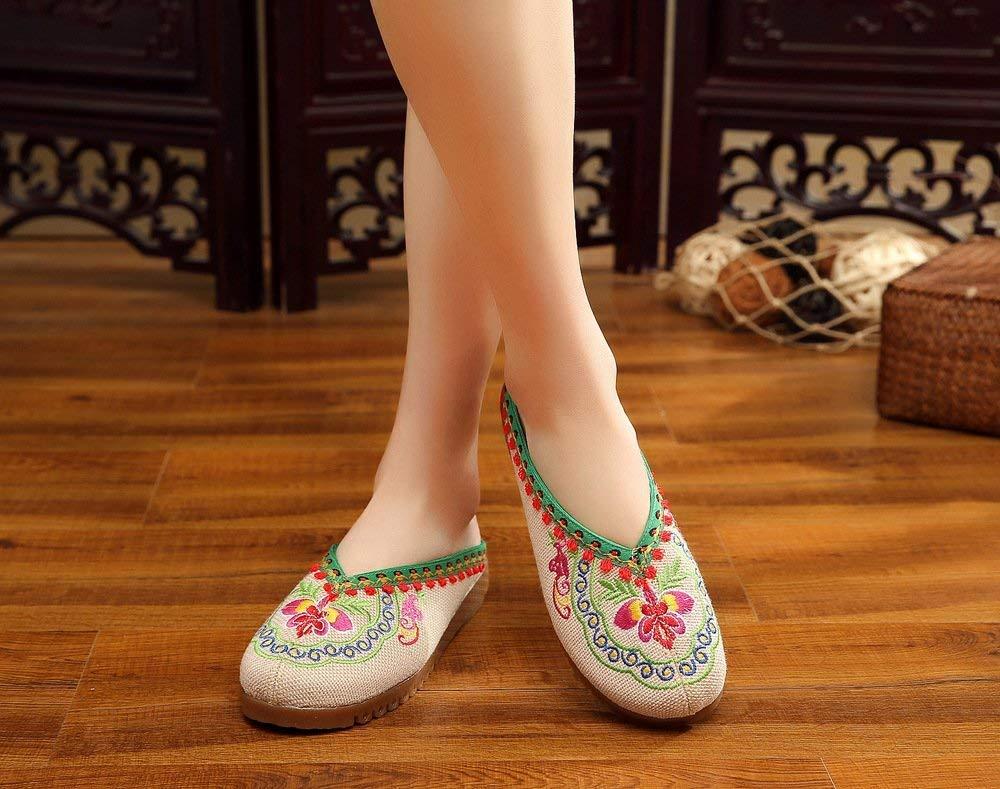 Bestickte Schuhe Sehnensohle ethnischer Stil Stil Stil weiblicher Flip Flop Mode Bequeme lässige Sandalen beige 39 (Farbe   - Größe   -) ca0ea9