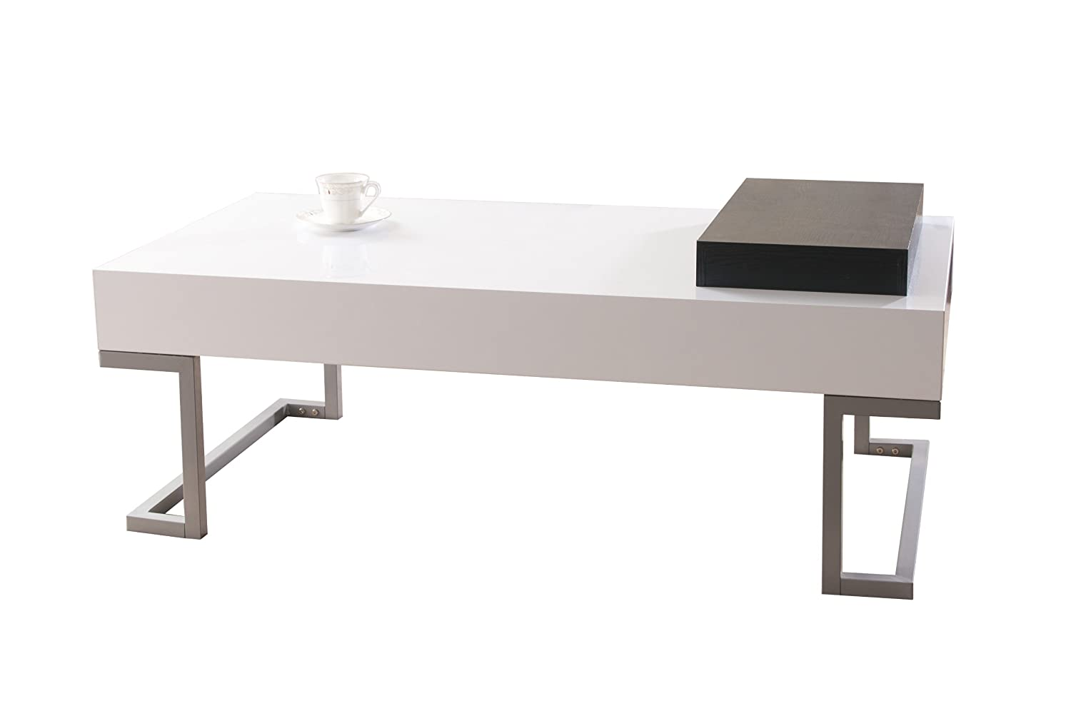 Amazon.com: IoHOMES Verona Rectangular Coffee Table And Serving Block,  Glossy White: Kitchen U0026 Dining