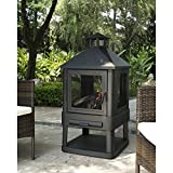 Crosley Outdoor Villa Fireplace (Black) (45.5″H x 21.75″W x 21.75″D)