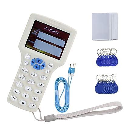 HFeng English Rfid Copier Lector de tarjetas NFC Duplicador de escritura 10 Programador de frecuencia + 125KHz / 13.56MHz Teclas grabables T5577 / ...