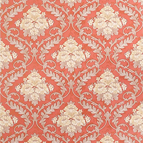 SICOHOME Vintage Flower Contact Paper,Self-Adhesive,11 Yard,Red