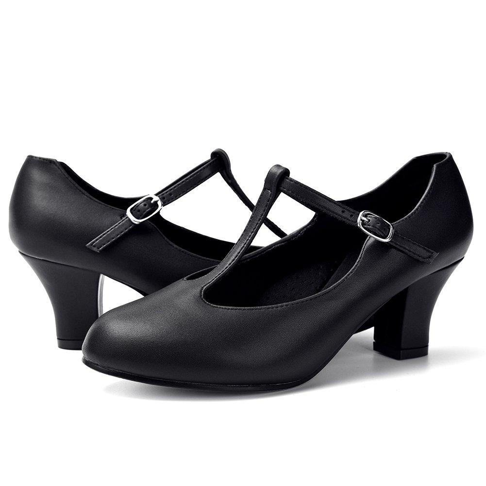STELLE Women's Character Footlight T Strap 2.5'' Dance Shoes(Women/Big Kid) (10M, Black) by STELLE (Image #5)