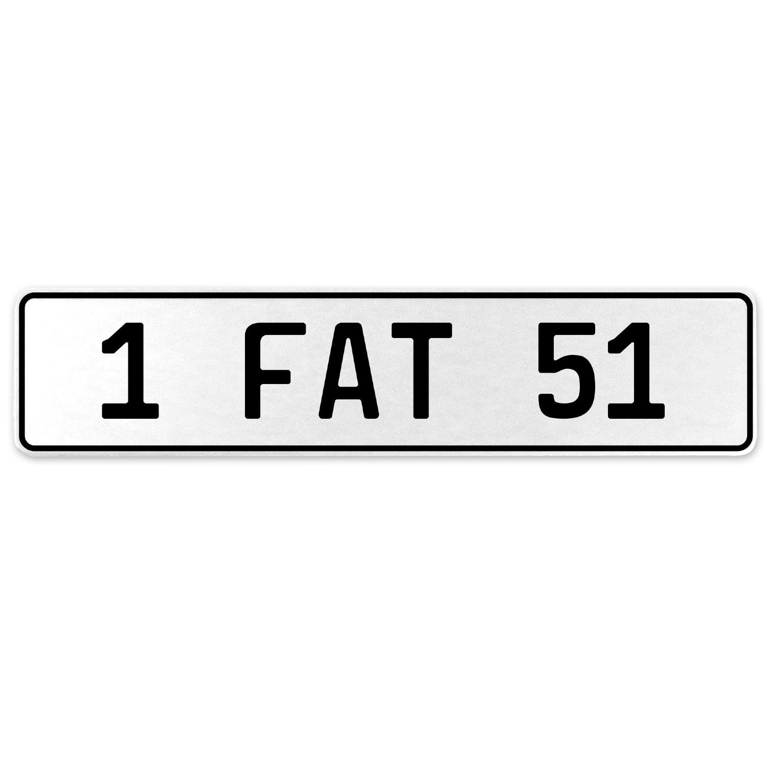 Vintage Parts 554648 1 Fat 51 White Stamped Aluminum European License Plate