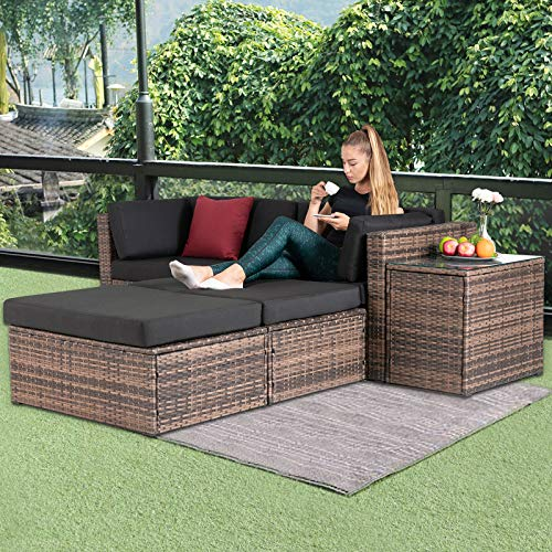 mecor 5PC Wicker Patio Furniture Set, Outdoor Furniture Sectional Cushioned Sofa Set &Glass Coffee Table, Garden,Backyard,Lawn Furniture with 2 Pillow (Brown)