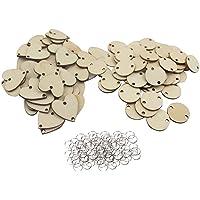 Vosarea 200pcs tranches de Bois en Forme de Coeur Rond disques en Bois en Forme de Cercle la Fabrication de Boucle DIY