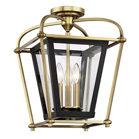 Langdon mills baron 3 light 13 aged brass black foyer island chandelier pendant semi