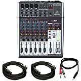 small 2 channel mixer - Behringer XENYX 1204USB Small Format Mixer with XENYX Mic Preamps, 12 Input Channels, - With 2x 15' 8mm XLR Microphone Cable, Stereo Mini (3.5mm) Male to 2 Mono 1/4