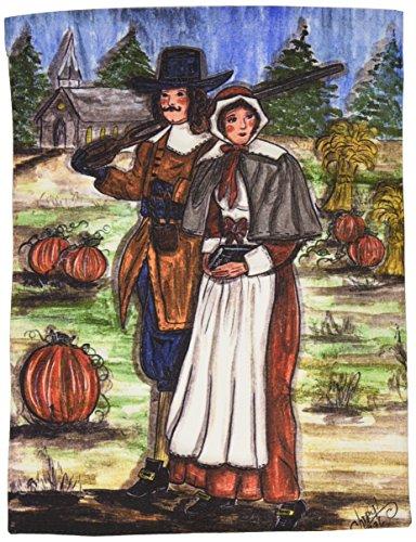 Caroline's Treasures CN5032GF Pilgrims Thanksgiving Flag, Small, Multicolor