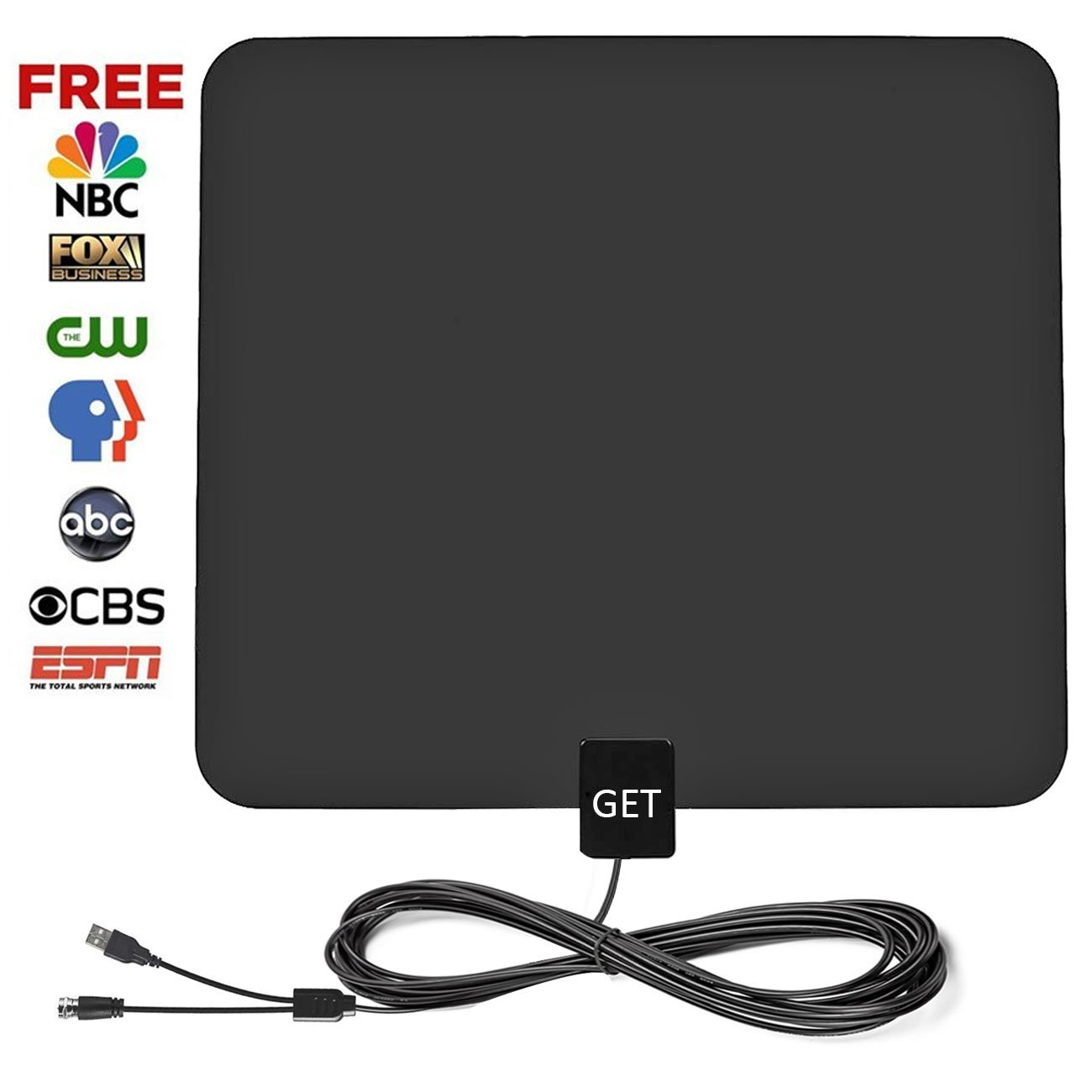 Amplified HDTV Antenna – Get 50 Mile Range Digital TV Antenna with 13.2ft High Reception Coax Cable(Upgraded Version)