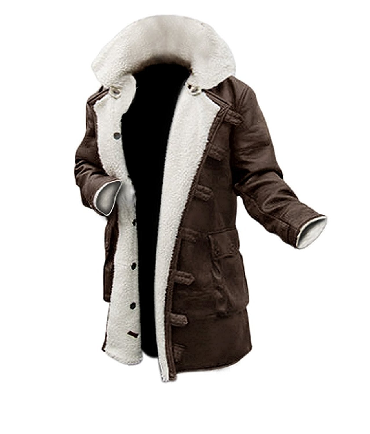 BlingSoul Faux Shearling Winter Coats - Leather Baine Coat Jacket (2XL) [PU-BNCO-BR-2XL]