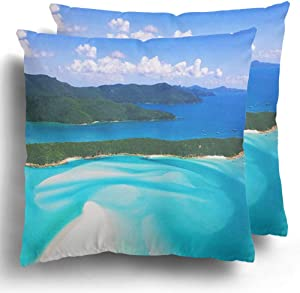 Staroapr Throw Pillow Case Covers Pack of 2 Blue Australia Whitehaven Beach Queensland Island Hamilton Landmark Beautiful Polyester Cushion Pillowcase Couch Home Decor 20 x 20 Inches