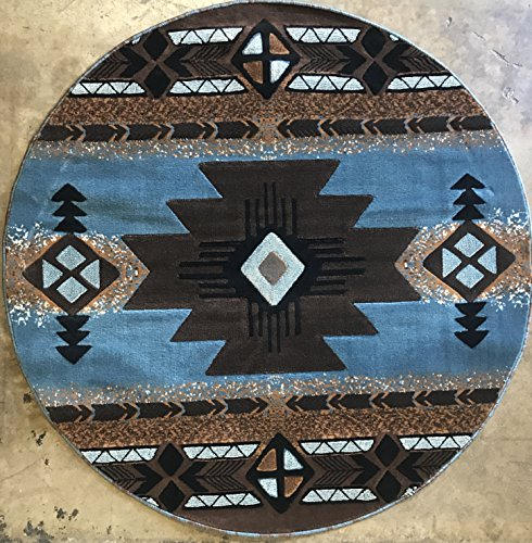 South West Round Native American Tribal Area Rug Blue & Brown Design C318 (6 Feet 7 Inch X 6 Feet 7 Inch - Tribal Round
