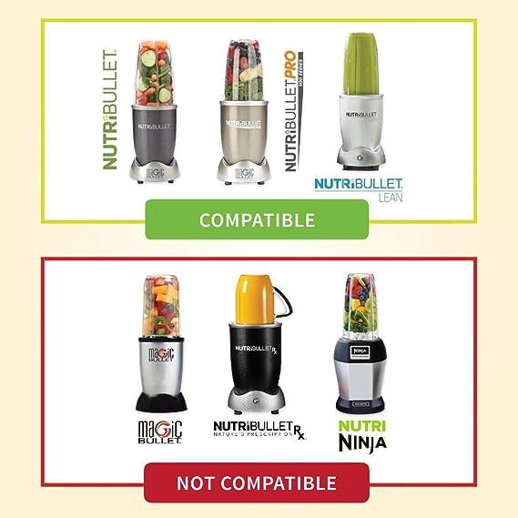 Taza & hoja 6 pc set para Nutribullet hoja de repuesto | calidad + dos (2) 32 oz tazas + tornillo de sellado tapa + mango + exclusivo recetas para ...