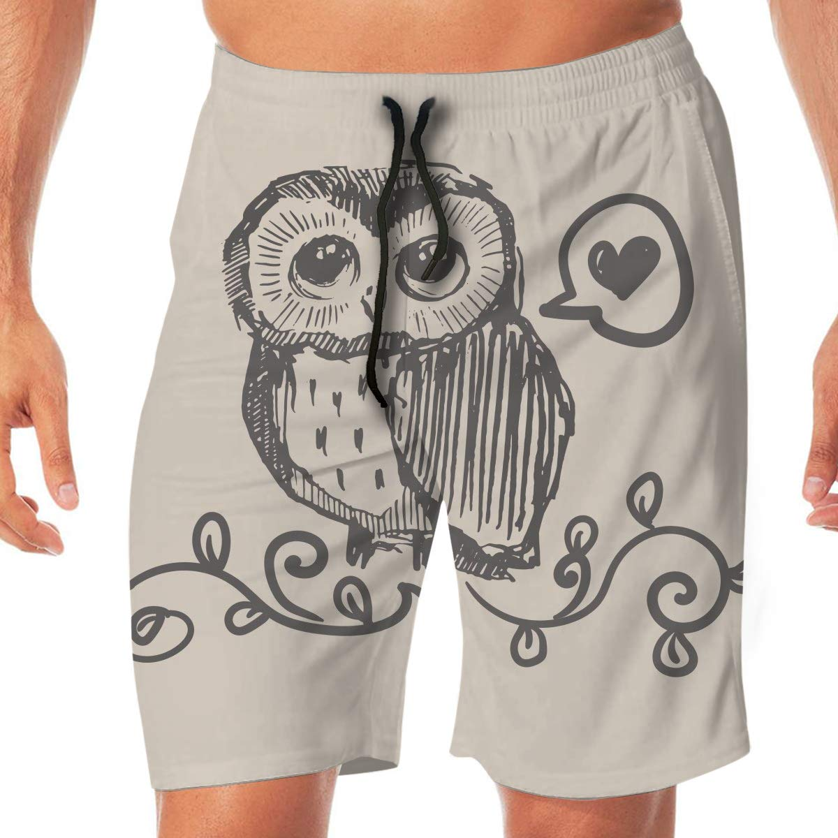 Mens Swim Trunks Quick Dry Owl Love Grass Shy Beach Board Shorts Swimming Short with Pockets