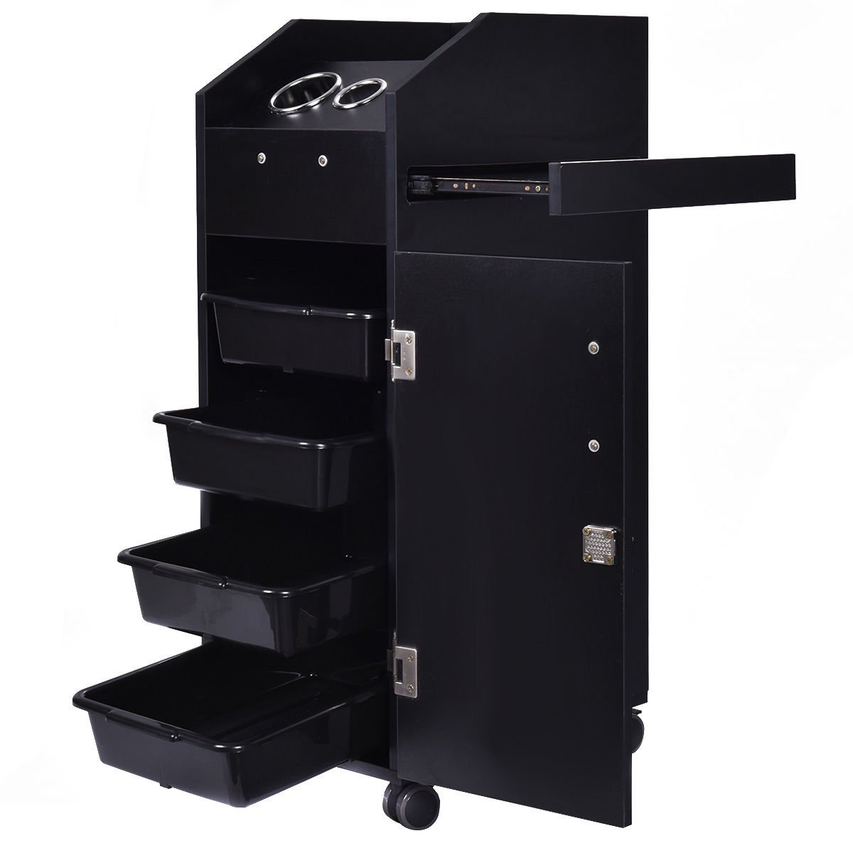 MDF 35''H Black Rolling Salon Trolley Storage Station Trays w/ 4 Plastic Drawers