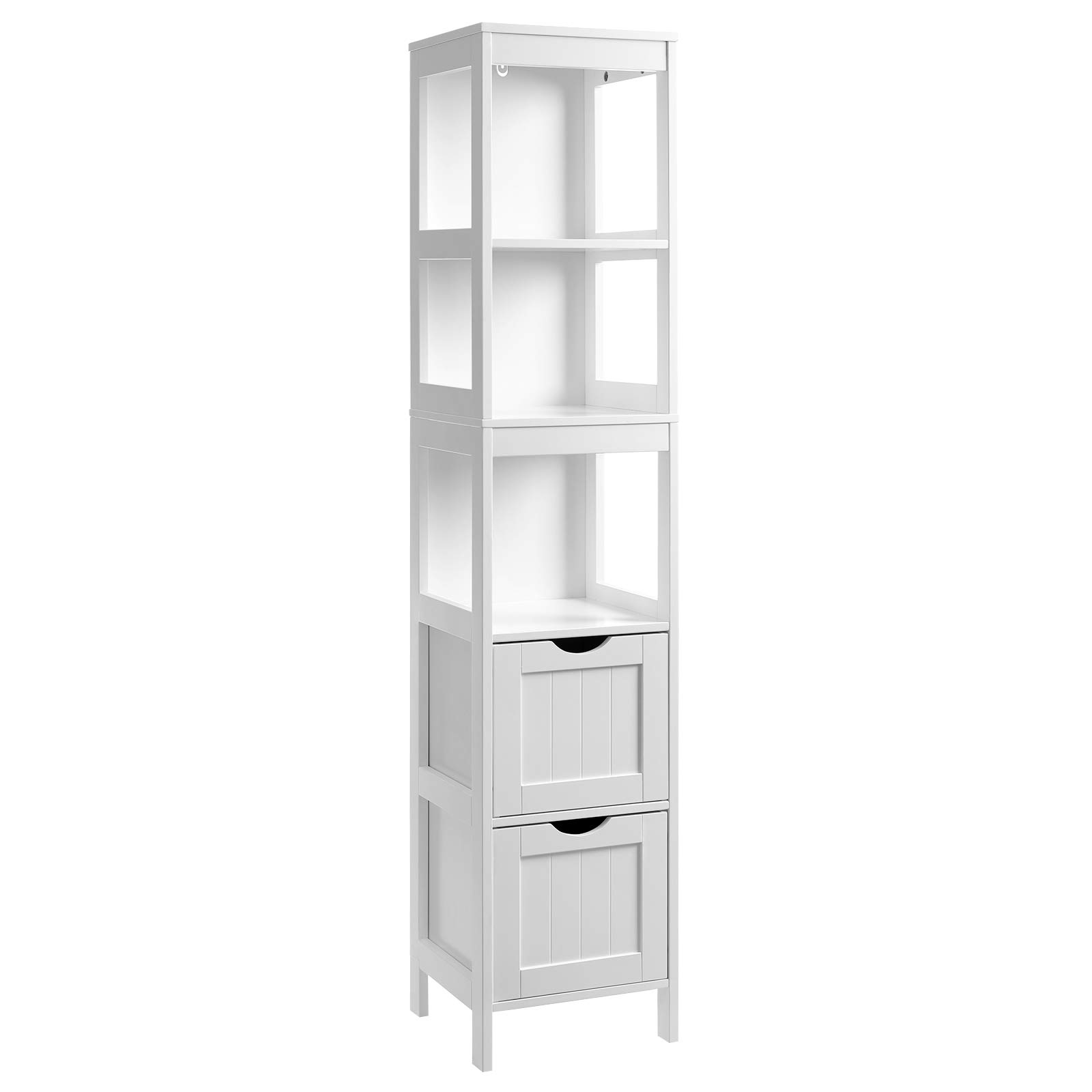 VASAGLE Bathroom Tall Cabinet, Linen Tower, Floor Storage Cupboard, with 2 Drawers and 3 Open Shelves, 11.8 x 11.8 x 56.5 Inches, for Bathroom, Living Room, Kitchen, White UBBC66WT by VASAGLE