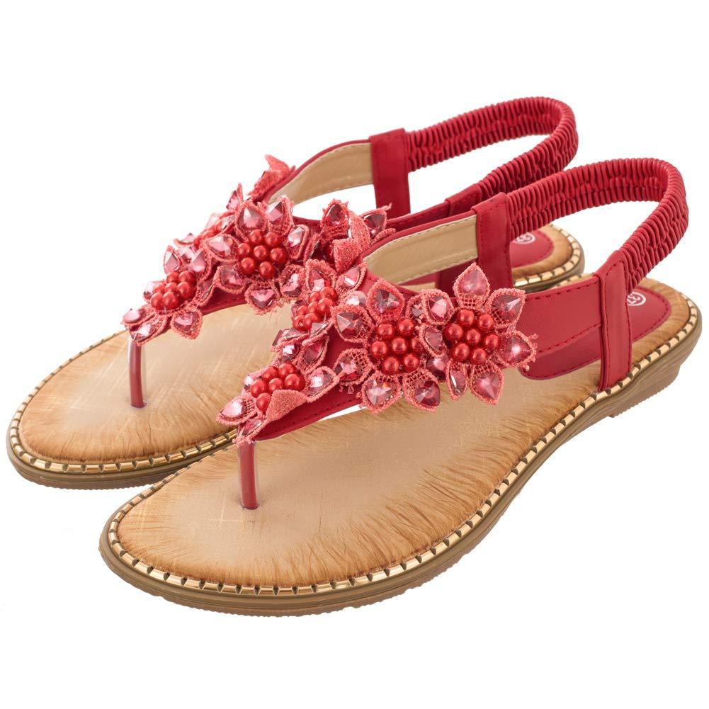 Women's Red Rhinestone Pearl Flower Back Strap Beach Flat Sandals