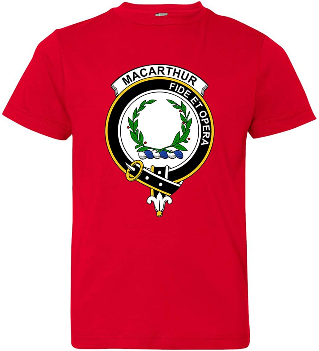 Tenacitee Boys Youth Scottish Clan Crest Badge MacArthur T-Shirt