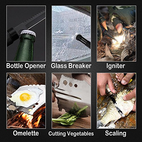F FINDERS&CO Military Folding Shovel Kit, Detachable Design Multitool Survival Shovel with Axe Saw Knife Flashlight for Camping Gardening Car Emergency - Portable, Heavy Duty Outdoor Survival Gear by F FINDERS&CO (Image #6)
