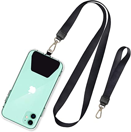Adjustable Nylon Phone Lanyard Key Chain Holder Phone Tether Safety Strap for Anti-Drop Outdoor Hiking Cycling Climbing,Gray,1 Pack Universal Cell-Phone Lanyard Neck Strap